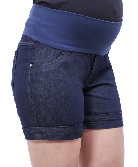 Short Jeans Gestante Lia Azul Marinho