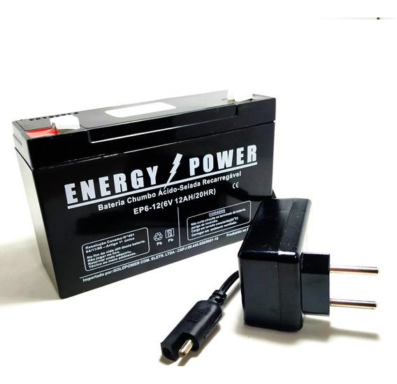 Kit Bateria 6v12ah Power Carregador Moto Elétrica Biemme