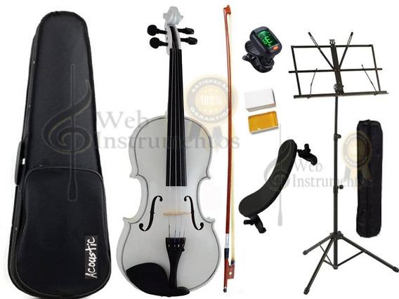 Kit Violino Branco 4/4 Completo Estante Afinador Espaleira
