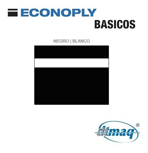 Plástico Bicapa Laserable Econoply Negrotexturad Blanco60x40