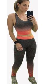 Conjunto Top Cropped E Leggig Fitness Promoção Academia 098