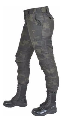 Calça Feminina Camuflado Woodland Black Estonada