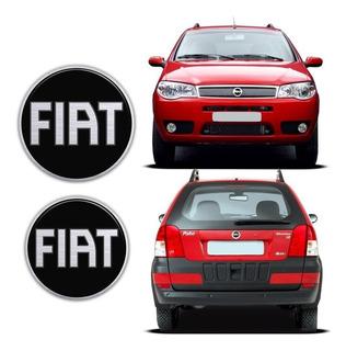 Kit Emblema Resinado Fiat Black Palio Fire/weekend 04/08