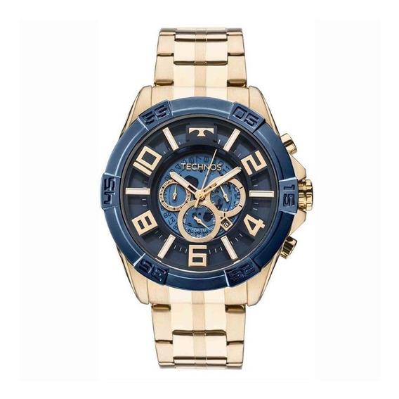 Relógio Technos Dourado Masculino Cronógrafo Os2abf/4a