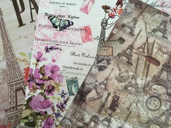 Set 6 Láminas Découpage Vintage Paris Londres Mariposas