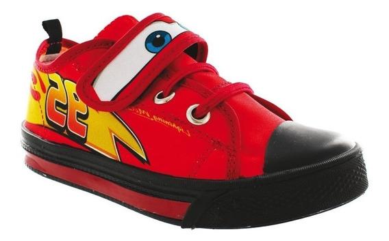 Calzado Tenis Bebe Niño Disney Cars Casual Textil Rojo Comod