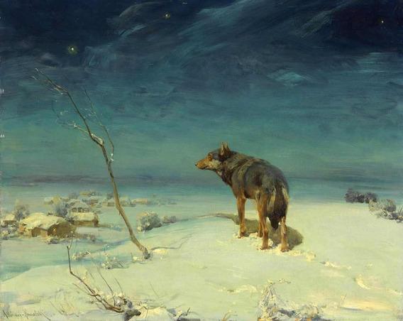 Lobo Solitário - Kowalski - Tela 50x62 Em Canvas