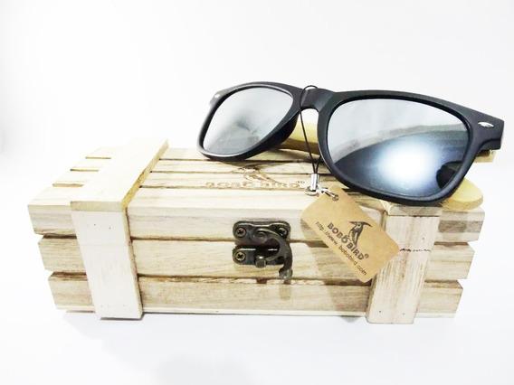 Óculos De Sol Original Madeira Preto Masculino Bobo Pássaro