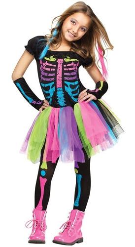 Imagen 1 de 10 de Disfraces De Funky Punky Esqueleto Halloween Para Niñas