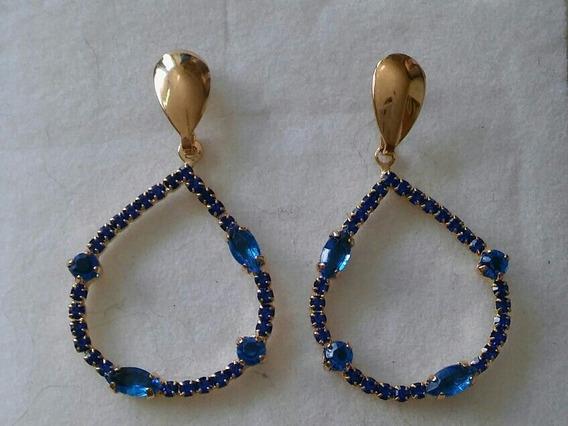 Brinco Feminino Prata Ouro 18k Banhado Pedra Quartzo Azul