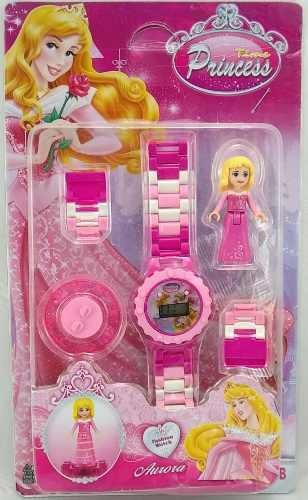 Relógio Princesas De Pulso Infantil Digital + Bonequinho Compatível Com Lego