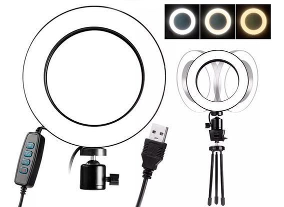 Iluminador Ring Light Led Mesa Usb P/ Fotos Vídeo Maquiagem