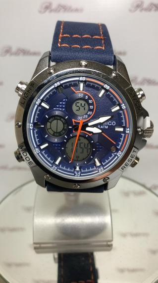 Relógio Masculino De Pulso Boamigo Luxo Pulseira Couro K4495