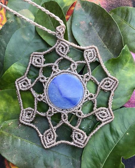 Colar Macramê Mandala Com Quartzo Azul
