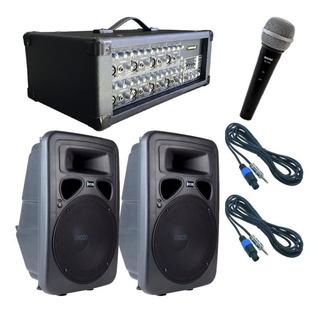 Combo Sonido Mixer Potenciada Jcb808cl + Cajas + Mic Y Cable