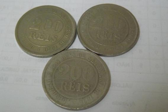 200 Reis 1880, 1888 E 1889 Império Raras