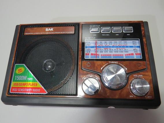 Radio Portatil Bak Bk-809sd 4band Usb Cartão Sd 2v