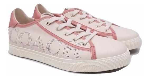Coach Tenis C136 Piel Talla 4 Chalk Pink 100% Original
