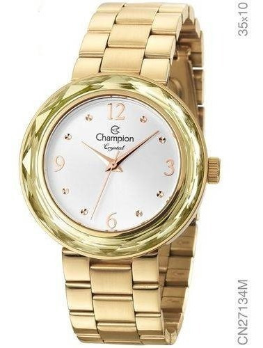 Relógio Champion Feminino Crystal Dourado Cn27134m