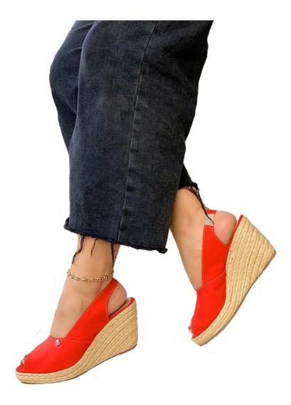 Sandalias De Plataforma En Yute Para Damas 129