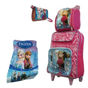 Kit Lancheira Mochila Feminina Infantil Frozen Meninas Rosa