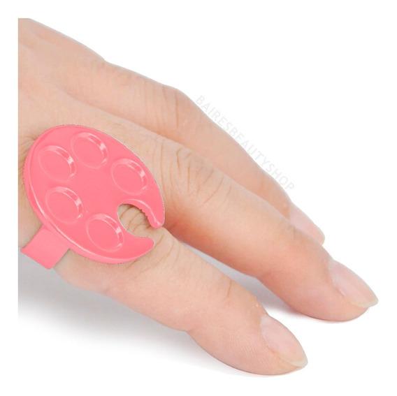 Anillo Mini Paleta Pegamento Pestañas Mezcla Esmalte Uñas X5