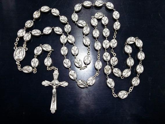 Terço Católico Nossa Senhora Aparecida Prata 925 Italiano