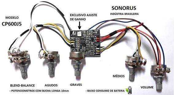 Kit Pré-amplificador Circuito Ativo P/ Baixo Cp600j5 Sonorus