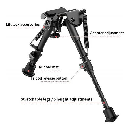 Imagem 1 de 8 de Bi Pe Retratil Universal  Carabina-rifle-caça+suporte