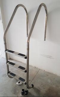 Escalera Para Alberca Marca Vertex De 3 Peldaños Acero Inoxidable