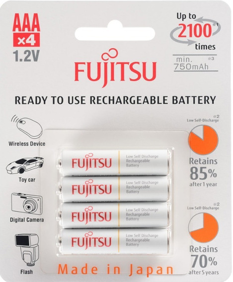 4 Pilhas Aaa Palito Recarregáveis 2100x Fujitsu 800mah