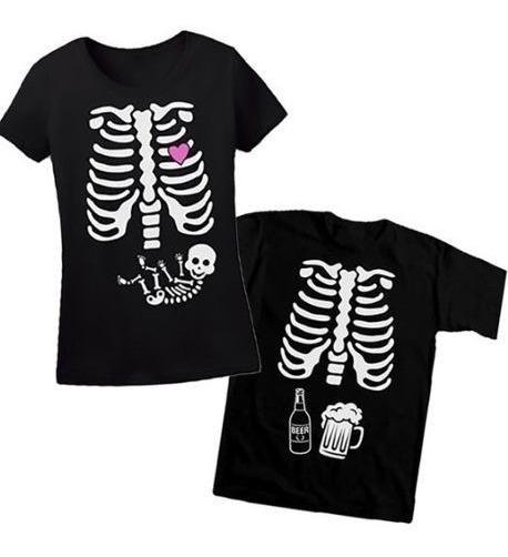 Playeras De Pareja Halloween Esqueleto Embarazada