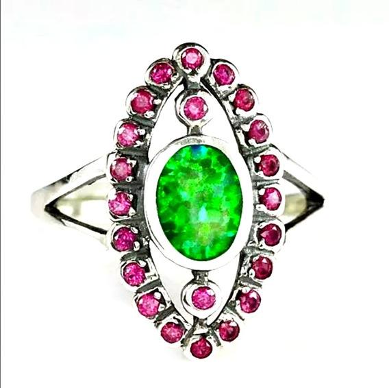 Anillo Ópalo Verde Y Granate Rojo Plata Esterlina 925