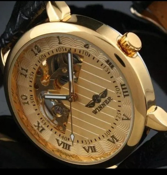 Relógio Masculino+brinde Automático Pulseira De Couro C.105