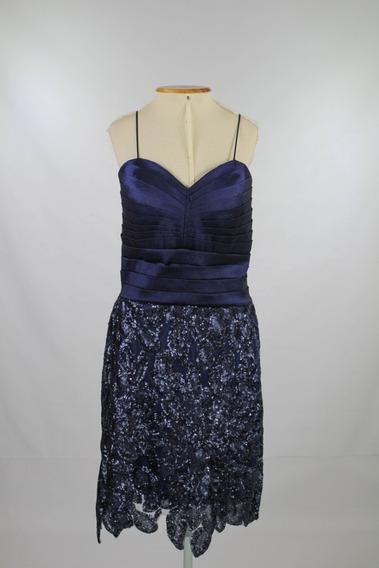 Vestido De Festa Curto Azul Marinho Paetê