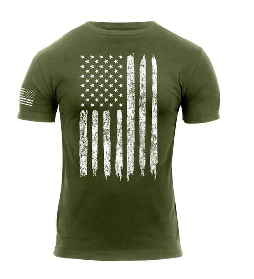 Remera Bandera De Estados Unidos , L, Verde
