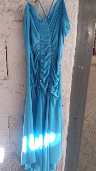 Vestido Azul Celeste Con Pedreria Brillantes