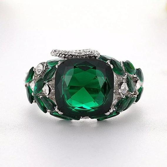Anel Feminino Platinado Pedra Verde Aro 14 15 17 19 21
