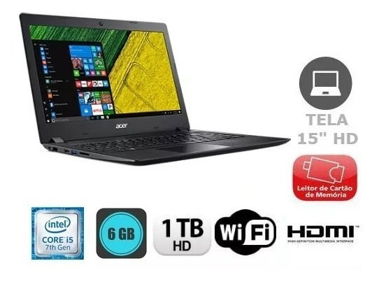 Notebook Acer Intel Core I5 7 Ger 6gb 1tb 15 Pol
