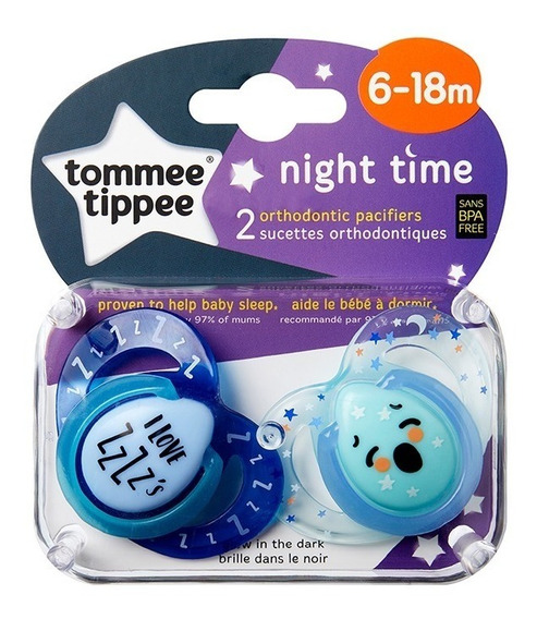 Chupete Tommee Tippee Silicona Night Time 6-18 X2 Unidades