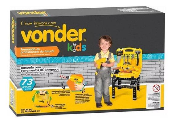 Bancada Ferramentas De Brinquedo Para Crianças 73 Pçs Vonder