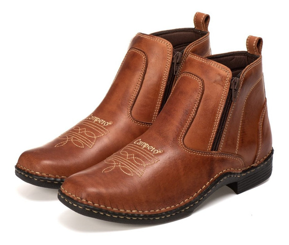 Bota Country Texana Masculina Zíper Lateral Bico Quadrado Co