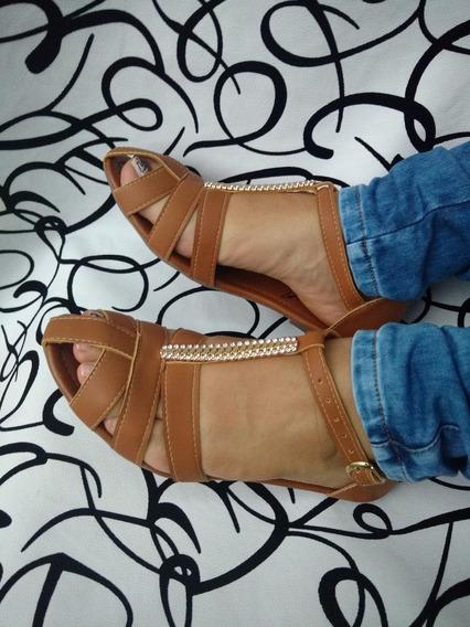 Sandalias Planas Color Miel Articulos De Moda Envío Gratis