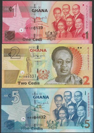 Cédulas Ghana Gana 1/2/5 Cedis 2014/2015 Fe - 3 Cédulas