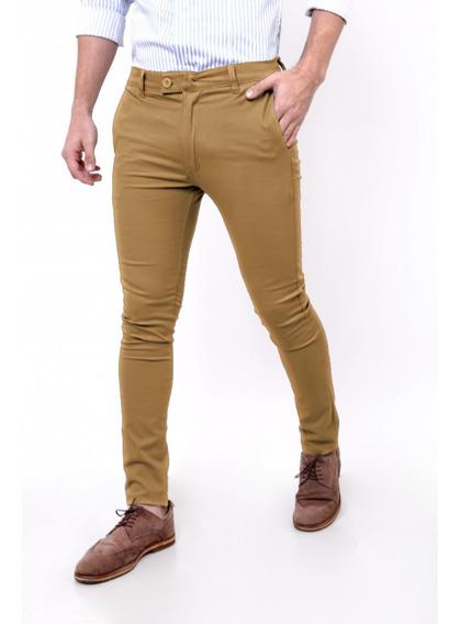 Pantalon De Gabardina Chupin Elastizado Con Bolsillos Chinos