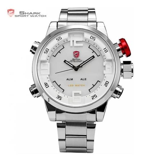 Relógio Shark Original Prata E Branco