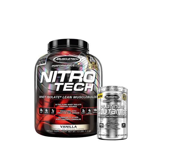 Nitro Tech 3,97 Lb + Glutamina 302 Grs Muscletech Proteina
