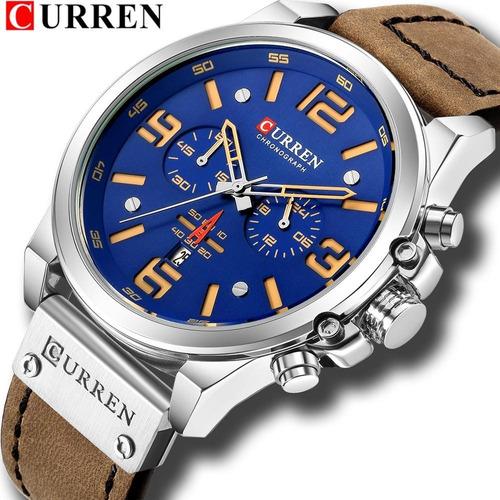 Relogio Masculino Curren Modelo M8314 Caixa 50mm Prata Visor Azul Calendario Couro Marrom Legitimo Envio Imediato