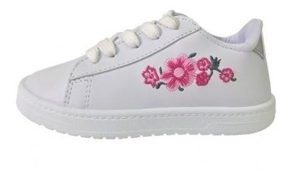 Zapatillas Cuerina Niñas Chicas Blancas Livianas 27 Al 33