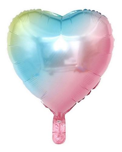 Globo Corazón Metalizado Multicolor Arco Iris Degradado